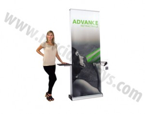 advance banner stand with shelf and literature holder